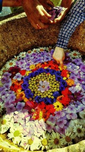 Making a Wildflower mandala in the stone basin